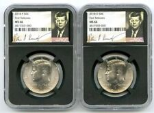 2018 P & D KENNEDY NGC MS66 HALF DOLLAR MATCHING 2 COIN SET FIRST RELEASES !!