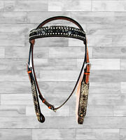 COWHIDE LEATHER HORSE WESTERN TRAIL TACK HEADSTALL BEAUTIFUL SHOW BRIDLE