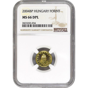 Hungary 2004 BP 1 Forint Crowned Shield NGC MS 66 DPL Deep Prooflike KM# 692
