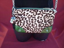 juicy Couture Green Sheep leather Cow Hair Evening Clutc Crossbody Handbag Purse