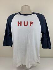 HUF Worldwide White Baseball T Shirt Men's Size M Medium Raglan Skate Wear USED
