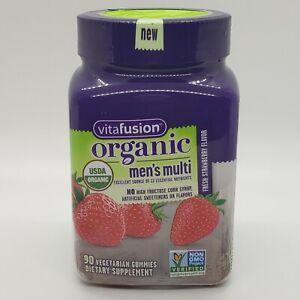 Vitafusion Organic Men's Multivitamin Strawberry 90 Vegetarian Gummies Exp 06/21