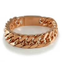 18K Rose Gold Plated Stainless Steel CUBAN Miami Chain Link MEN Womens Bracelet