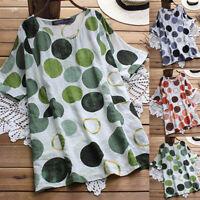 ZANZEA Women Summer Top Tee Shirt Loose Baggy Contrast Colors Polka Dot Blouse