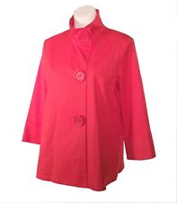NWOT Coldwater Creek Bright Coral Stretch Cotton Jacket Top-Huge Buttons - Sz M