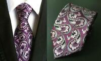 Purple Tie Paisley Handmade Patterned 100% Silk Wedding Necktie 8cm Width