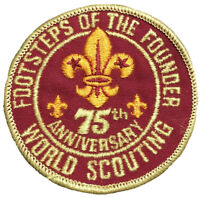 "BSA Boy Scouts Footsteps of the Founder 75th Anniversary World Scouting 3"" Patch"