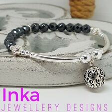 Inka 925 Sterling Silver Stacking Bracelet with Hematite and Large Ball Charm