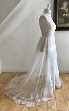 Victorian 1800s BrIdes Wedding Over Skirt French Tambour Lace Train Pristine