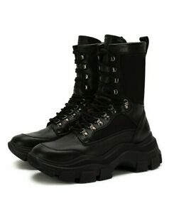 PRADA 2UE004 BLACK LEATHER LOGO CHUNKY PLATFORM COMBAT BOOTS 9 / US 10 ITALY
