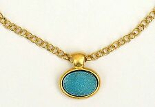 Yellow Gold 24K Plated Necklace Set w Sparkly Oval Pale Blue Druzy Agate Pendant