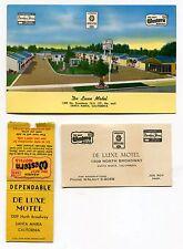 "3 Diff 1955 ""DE LUXE MOTEL"" Items: Postcard, Business Card + [Santa Maria, CA]"