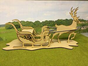 free standing reindeer and sleigh, laser cut mdf