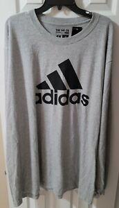 ADIDAS Shirt The Go To Tee 4XL NEW w/tags XXXXL Gray Long Sleeve LS Big & Tall