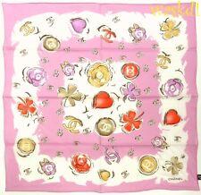 "CHANEL cotton batiste Pink CC logos 4-leaf Clovers 22"" BANDANA scarf NEW Authent"