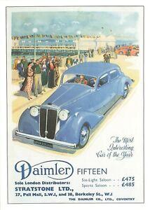 Car Motor Motoring Advertising Postcard Daimler Fifteen, Stratstone Ltd OJ9