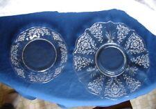 "1930's Vintage Fostoria Baroque Elegant Glass Navarre Etched 10¾"" & 7½"" Plates"