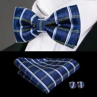 USA Blue Plaida&Checks Classic Silk Mens Bow Tie Cufflinks Pocket Square LH-763