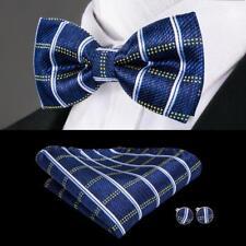 USA Blue Plaida&Checks Classic Silk Mens Bow Tie Cufflinks Pocket Square LH-763