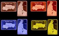 ★★ COLLECTION COMPLETE DE 4 MEDAILLES ● VEHICULE POMPIERS MACK L 1948 ★