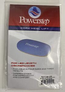 PowerStep Cork Heel Lift 6mm Men's Sz 7.5-9.5 Women's 10.5+ Power Step