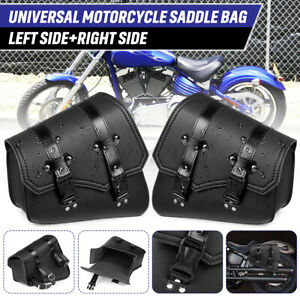 Pair Motorcycle Saddle Bag Side Storage Luggage PU Leather For Honda Cafe Racer