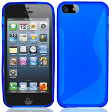 For Apple iPhone 5 5S SE TPU Candy S-Line Flexi Gel Skin Case Cover Blue S-Shape
