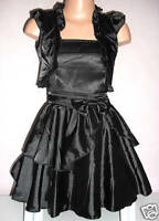 GIRLS BLACK SATIN BOW TRIM PRINCESS PAGEANT PROM PARTY DRESS & SHRUG age 3-4