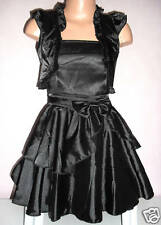 GIRLS BLACK SATIN BOW TRIM EVENING OCCASION PARTY DRESS & SHRUG age 3-4