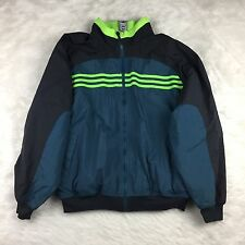 Vintage Men's Reversible Adidas Jacket Blue Neon Green Exercise Outerwear