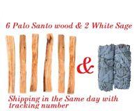 """SUPER BUNDLE - Palo Santo 6 pcs Sticks Smudge & 2 White Sage Smudge Wands 4""""-5"""""""