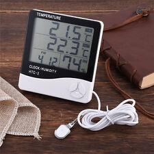 Indoor Digital LCD Thermometer Humidity Room Temperature Hygrometer Meter Clock