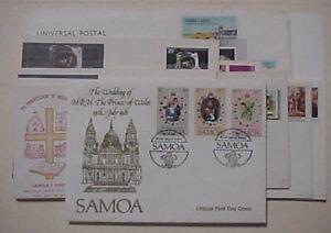 SAMOA  FDC  21 DIFF. 1969-2000 CACHET  UNADDRESSED INCLUDES 1 PRINCESS DIANA