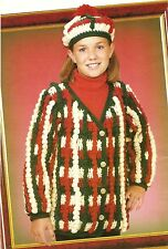 CHRISTMAS SWEATER & MATCHING TAM/Child Size/Crochet Pattern INSTRUCTIONS ONLY
