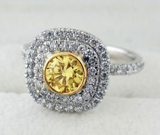 Fancy Intense Yellow Diamond Ring 1.35 Carat Total Weight Platinum/18KYG