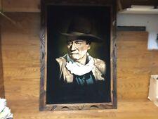 Large Framed Vintage (The Duke) JOHN WAYNE Painting on Black Velvet