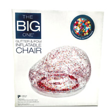 The Big One Glitter & Pom Inflatable Chair Holographic Rainbow Sparkle Lounger
