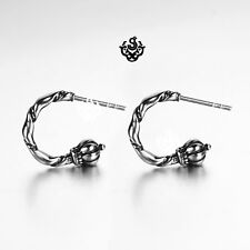Silver stud crown rod wand mace stainless steel earrings Soft Gothic