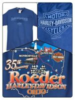 Harley Davidson Motorcycles Roeder Ohio 35th Anniversary Blue T-Shirt Size Small