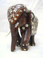 Impressive Large Heavy Anglo Indian Bone Inlaid Mughal Rosewood Elephant