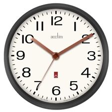 Acctim Alvis Gloss Metal Round Wall Clock in Gun Metal Grey 20cm Diameter