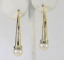 Perla pendientes 18 CT oro amarillo 8 MM cultivada 3.8cm largo 5.8 gramos