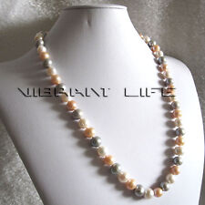"""24"""" 9-11mm White Pink Gray Freshwater Pearl Necklace Jewelry Fashion U"""