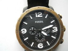 Fossil chronograph mens black leather band.quartz,Analog & battery watch.Jr-1357