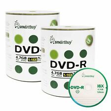 200 Smartbuy 16X DVD-R 4.7GB Logo Top Non Printable Blank Recording Disc