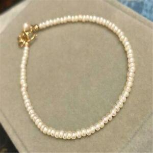 2-3mm White Baroque Pearl 18K Necklace 18 inches Accessories Flawless Chain Diy