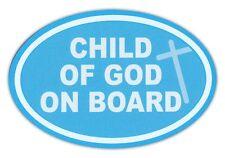 Oval Car Magnet - Child of God on Board - Baby Blue w/Cross Design