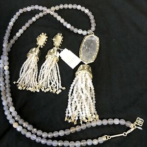 Rare KENDRA SCOTT Statement Earrings  and Necklace Lavender Chandelier NWT