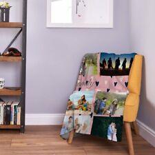 Large Warm Sofa Fleece Personalised Pink Love Hearts Photo Fleece Blanket
