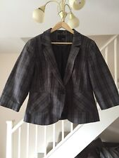 NEXT LADIES GREY CHECKED LINEN MIX JACKET SIZE 12
